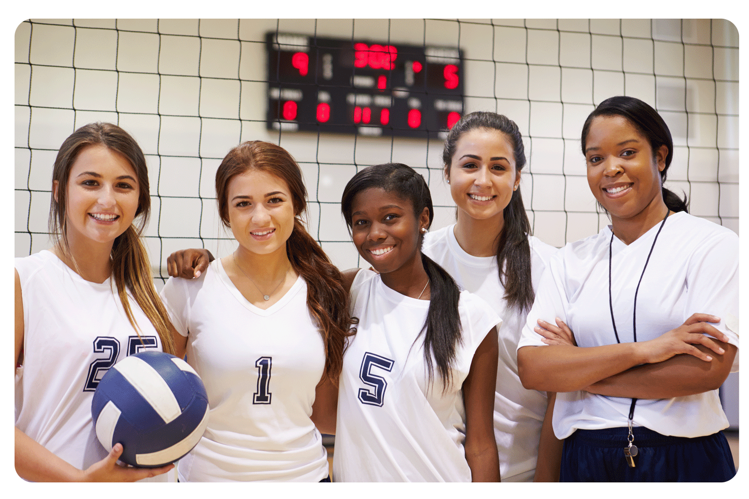 Girls Volleyball Team Smiling at the Y
