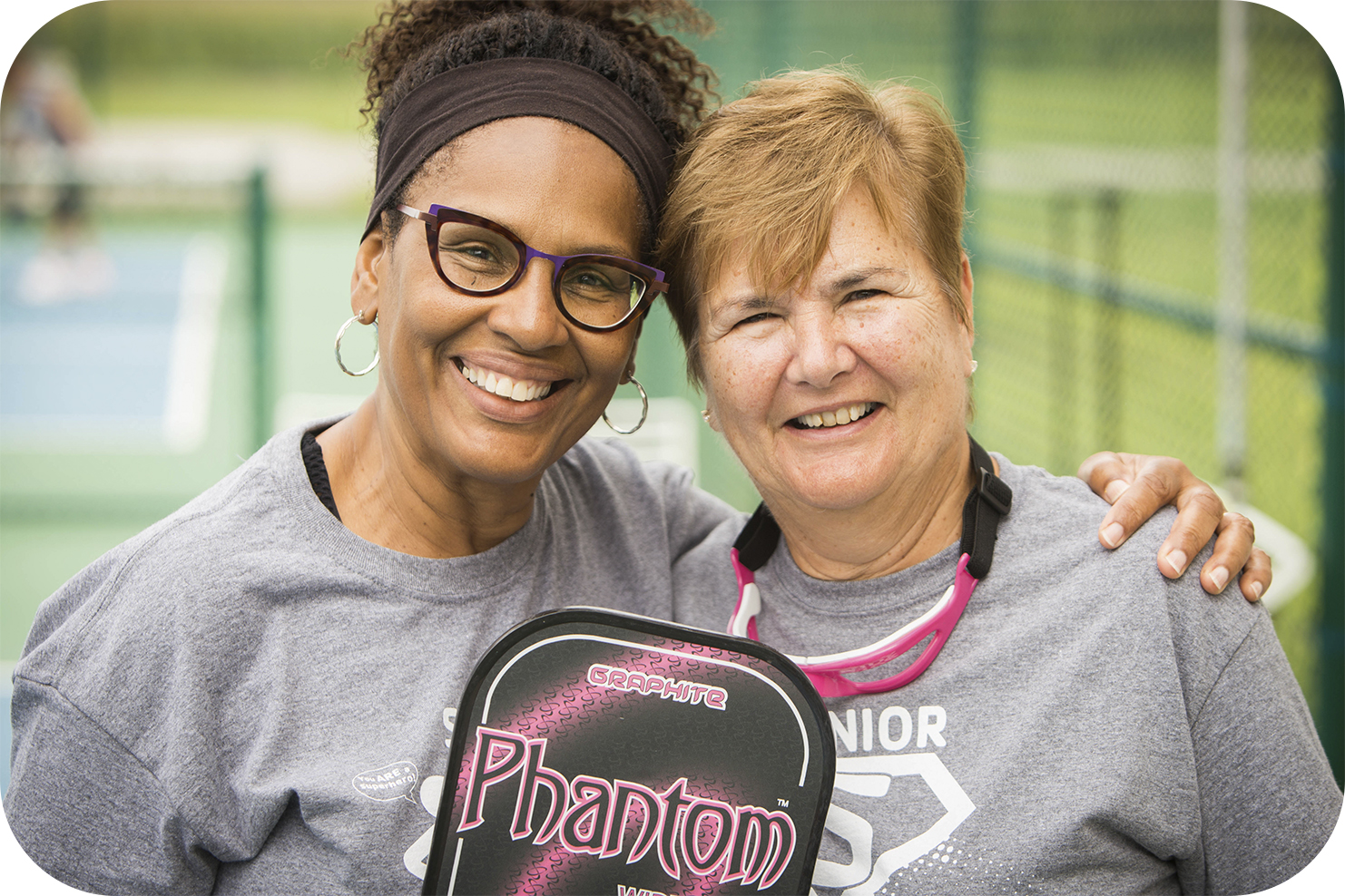 Two ladies from Preble Y at Pickleball Tournament